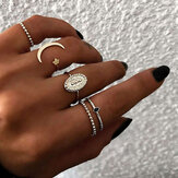 5szt Czeski Ring Finger Set Moon Star Open Close Rings