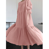 Solid Color O-Neck Puff Sleeve Casual Spliced Layered Maxi Dress Foe Women