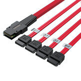 36P Flat Head Mini SAS Cable SFF8087 to 4 SATA3 Server Hard Disk Data Cable Connector 6 Gbps 0.5m Shengwei WSAS4087A