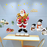 Zdejmowane Merry Christmas Santa Snowman Window Wall Sticker Naklejka Mural Decor