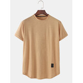 Mens Solid Color Simple Casual Round Neck Short Sleeve T-Shirts