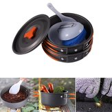 IPRee® 1-2 People Outdoor Camping Hiking Cookware Set Backpacking Cooking Bowl Pot Pan Picnic Tools