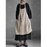 S-5XL Vintage Women Pure Color Pockets Cotton Linen Dress