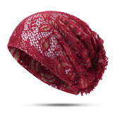 Women Flower Hollow Lace Beanie Hat Ethnic Turban Chemo Cap