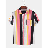 Mens Colorful Striped Practical Pocker Breathable Casual Shirts