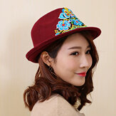 Women Ethnic Style Floral Embroidered Jazz Hat