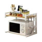 Estante de forno de microondas de 2 camadas Estante de padeiro Prateleira de armazenamento de mesa Organizador de temperos de mesa