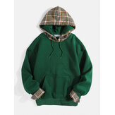Mens Plaid Patchwork Simple Kangaroo Pocket Drawstring Hoodies