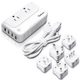 Baban 200W 100-260V to 110V Voltage Converter 4-Port USB Charging Port Travel Plug Adapter