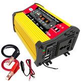 1200Wピークカーパワーインバーター、MP3マルチメディアプレーヤー付きDC12VからAC110V220VデュアルUSB急速充電ACコンセントコンバーターFMBluetoothLEDスクリーン