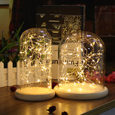 Clear Glass Display Dome Cloche Bell Vaso Base in legno Decorazioni fai da te con 20 LED Fairy String Light