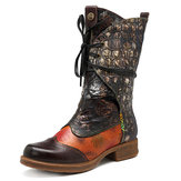 SOCOFY Retro Splicing Pattern Lace Up Genuine Leather Boots