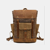 Men Retro Vintage Canvas Leather Backpack Sports Climbing Bag Travel Anti-theft Backpack