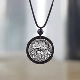 Ethnic Black Ebony Lotus Pendant Necklace