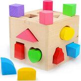 13 Gaten Houten Intelligentiedoos Bouwstenen Speelgoed Puzzel Kinderspeelgoed Vorm Geparen Verlichting Hout