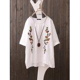 Manga curta o pescoço blusa floral bordado vintage