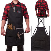 Heavy Duty Waxed Canvas Work Hobby Apron Grande bolso para pequeno a XXL Preto