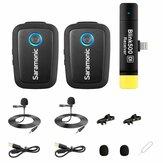 Saramonic Blink 500 B6 Sistema de microfone de clipe sem fio para 2 pessoas com receptor de lapela e USB-C para dispositivos Android e muito mais