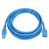 3M / 10ft High Speed ​​USB 3.0 Mannelijke naar USB 3.0 Female Flat Extension Data Charge Cable