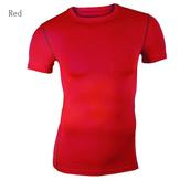 Erkek Modası Esneklik Sıkı O-Boyun Kısa tişört Sıkıştırma Vücut Geliştirme Top