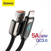 Baseus 40W 5A USB Type-C Data Cable Voltage LED Digital Display Data Transmission Cord Line For Samsung Galaxy Note 20 S20 Huawei P40 Mi10 Pro