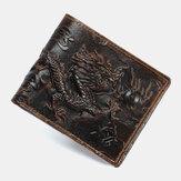 Мужской Натуральная Кожа 3D Дракон Шаблон Ретро Модный кожаный бумажник для карт