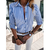 Women Stripe Print Lapel Long Sleeve Design Shirts
