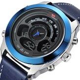 KAT-WACH 731 Reloj deportivo de moda para hombre Fecha Semana Mes Pantalla Correa de cuero con cronógrafo LED Reloj dual Pantalla