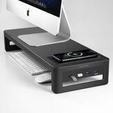 حامل كمبيوتر محمول Vaydeer ZGB0 مع USB 3.0 / USB 2.0 / لاسلكي شحن كمبيوتر معدني مراقب حامل ارتفاع سطح المكتب شاشة قاعدة تخزين منظم مكتب للمنزل والمكتب