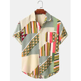 Mens Designed Colorblock Stripe Print Casual Shirts
