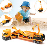 4w1 Kids Toy Recovery Vehicle Laweta Low Loader Diecast Model Toys Construction Xmas