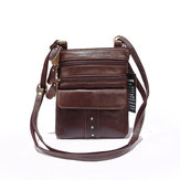 Heren echt lederen multi-pocket crossbody tas Vintage tas