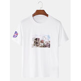 Mens Astronaut License Crew Neck Breathable Short Sleeve T-Shirts