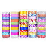 50PCS Glitter Washi Tape Stationery Scrapbooking Decorative Adhesive Tapes DIY Color Masking Tape School Supplies