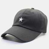 Men Cotton Embroidery Star Printing Solid Color Casual Outdoor Curve Brim Visor Adjustable Flat Hat Baseball Hat