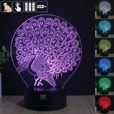 Peacock 3D Acrylic LED Mood Night Light 7 Color Touch USB Desk Lamp Lovely Gift for Child