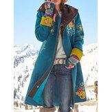 カジュアルなフローラルプリントパーカーアウターエスニックスタイルのジャケットコーツ