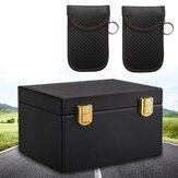 RFID Blocking Bag Autoschlüssel Signalblocker Case Box mit 2PCS PU Fob Pouch Keyless
