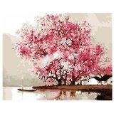 Olieverf op nummer Kit Pink Cherry Blossom Tree schilderij DIY acryl pigment schilderij op nummer Set Hand Craft Art Supplies Home Office Decor