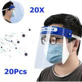 20ピース透明調整可能なフルフェイスシールドプラスチック防曇曇り止め保護マスク医師用看護師家族