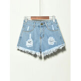 5 Colors Women Pocket Hollow Ripped Denim Shorts