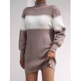 Women Colorblock High Neck Knitted Sweater Dresses With Sashes