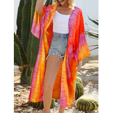 Breathable and light Raglan Spliced Tie-dyed Printing Cardigans
