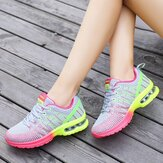 AU Damen Lässige atmungsaktive Mesh-Schuhe Sport Running Lace up Air Cushion Trainer Sneakers