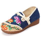 Çiçek Çince İşlemeli Günlük Yuvarlak Too Toka Düz Ayakkabı