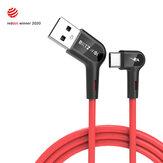 [10 Pack] Blitzwolf® BW-AC1 3A 90 ° زاوية قائمة USB A إلى Type-C كابل بيانات 3ft جائزة Reddot 2020 للألعاب هاتف Huawei P30 P40 Pro Mi10