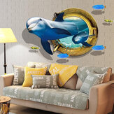 Miico creativo 3D finestra delfino pesce di mare in PVC rimovibile casa camera da parete decorativa Decor Sticker