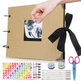 Kara Sayfa Fotoğraf Albümü ile Siyah Sayfa Bellek Kitaplar A4 Craft Kağıt DIY halka Bağlayıcı Scrapbooking Fotoğraf Albümleri ile 5 Metalik Işaretleyici Yıldönümü Doğum Günü Arkadaşlar Hediye için
