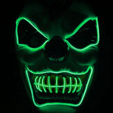Novo palhaço El Cold Light Glowing LED Fluorescente Máscara Halloween Tricky Scary Spoof Horror Glowing Props