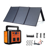 XMUND 300W EU Plug Power Generator Set With 100W Solar Panel 3-USB+DC PD Fast Solar Charger For Outdoor Travel Camping Emergency Energy Supply